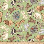 QT Fabrics Toyland - Animal Toss - Green