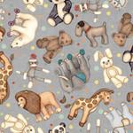 QT Fabrics Toyland - Animal Toss - Grey