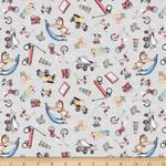 QT Fabrics Toyland - Toy Toss - Grey
