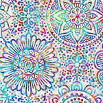 QT Fabrics Zanzibar - Mandala - White