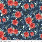 Riley Blake Designs Hedge Rose Garden - Roses - Navy