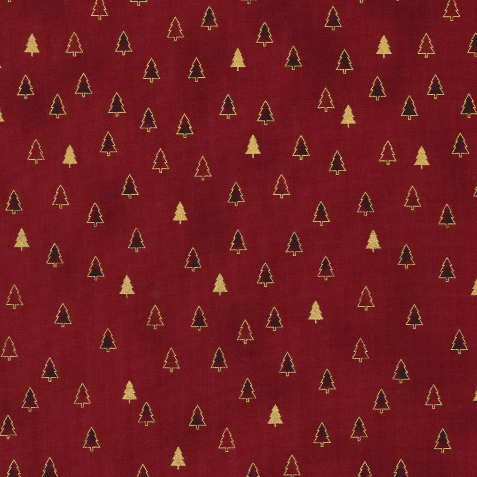 Stoffabrics Christmas Wonders - Trees - Red Gold