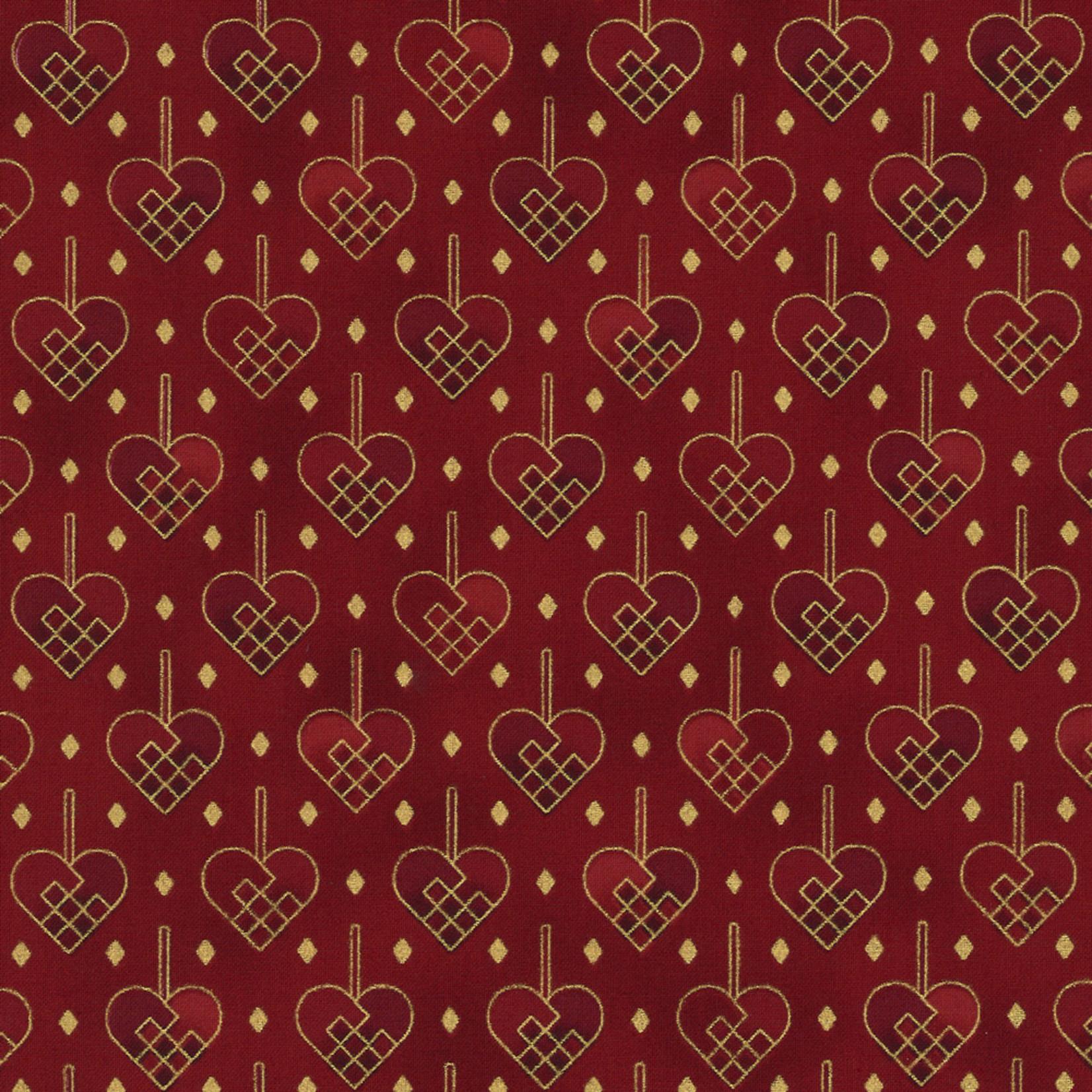 Stoffabrics Christmas Wonders - Hearts - Red Gold