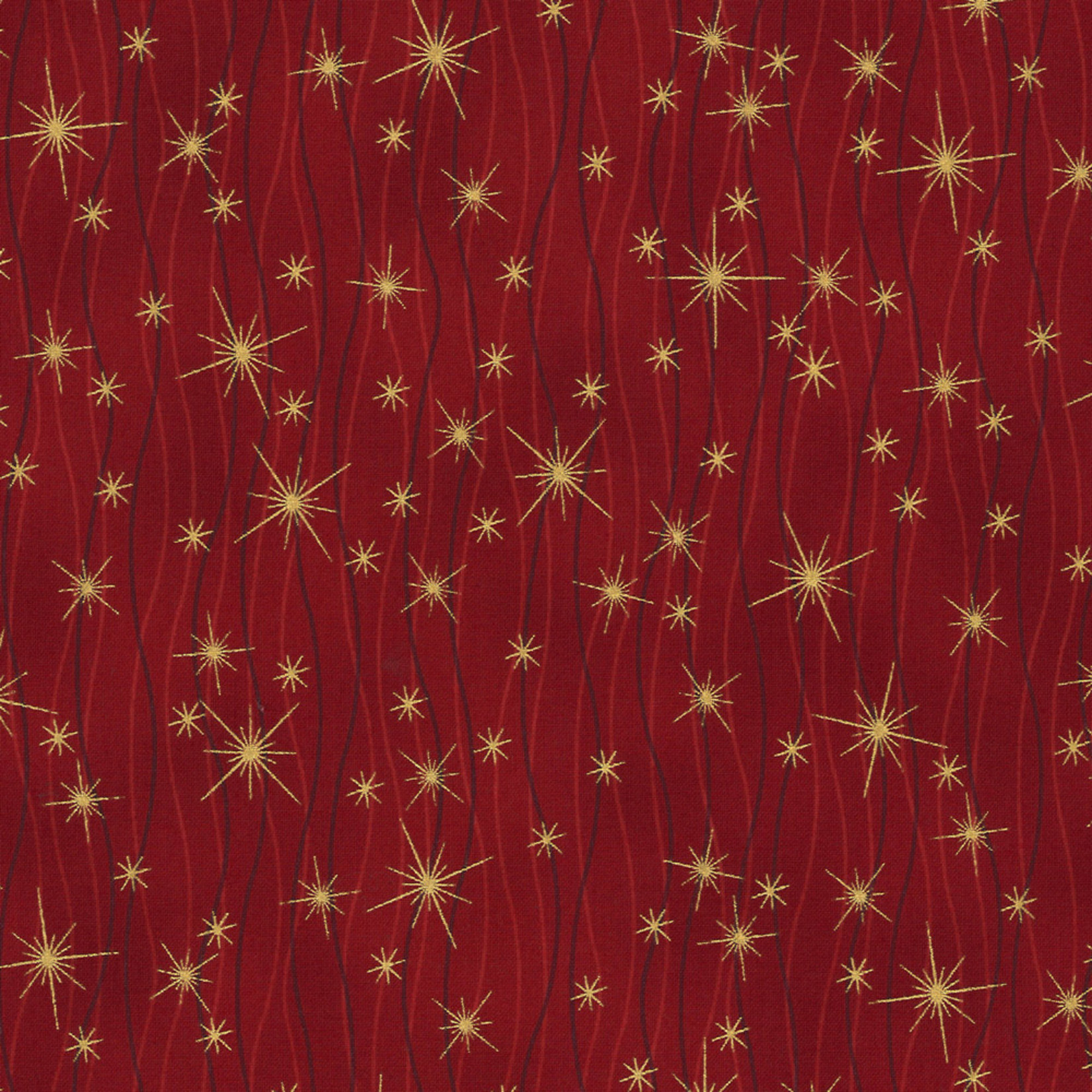 Stof Fabrics Christmas Wonders - Falling Stars - Red Gold