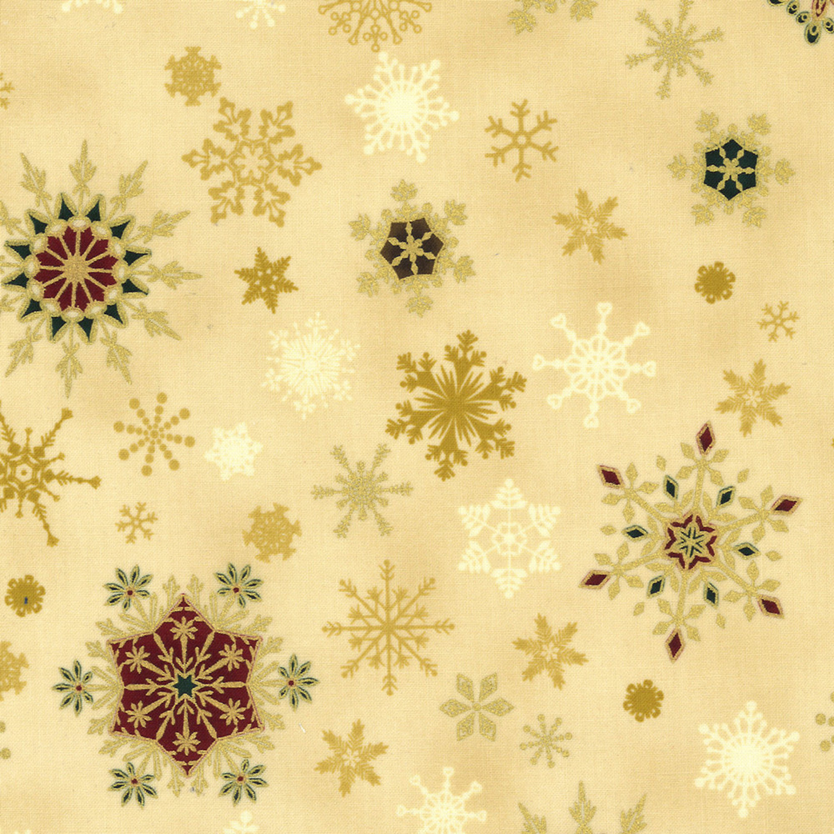 Stoffabrics Christmas Wonders - Snowflakes - Beige Gold