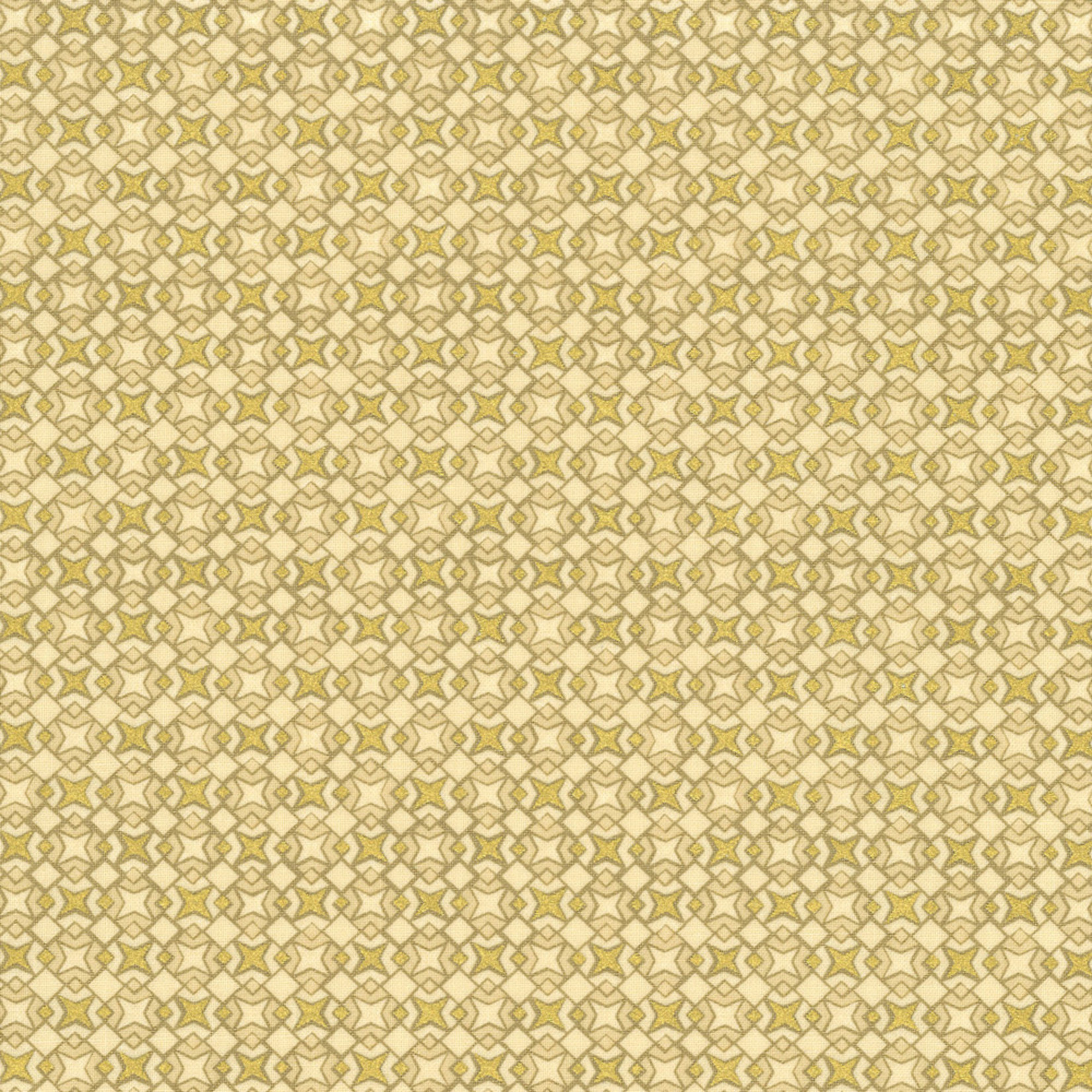 Stof Fabrics Christmas Wonders - Tiles - Beige Gold