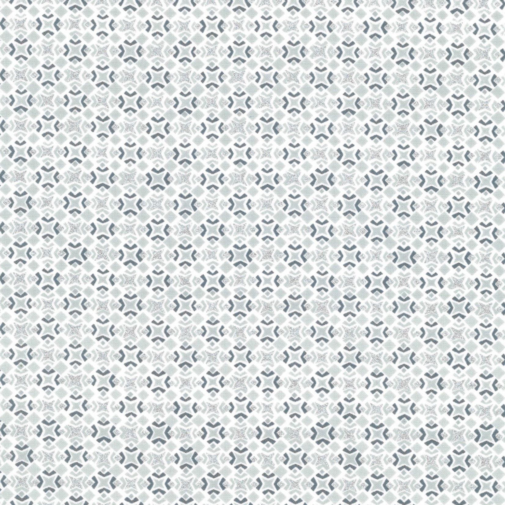 Stof Fabrics Christmas Wonders - Tiles - White Silver