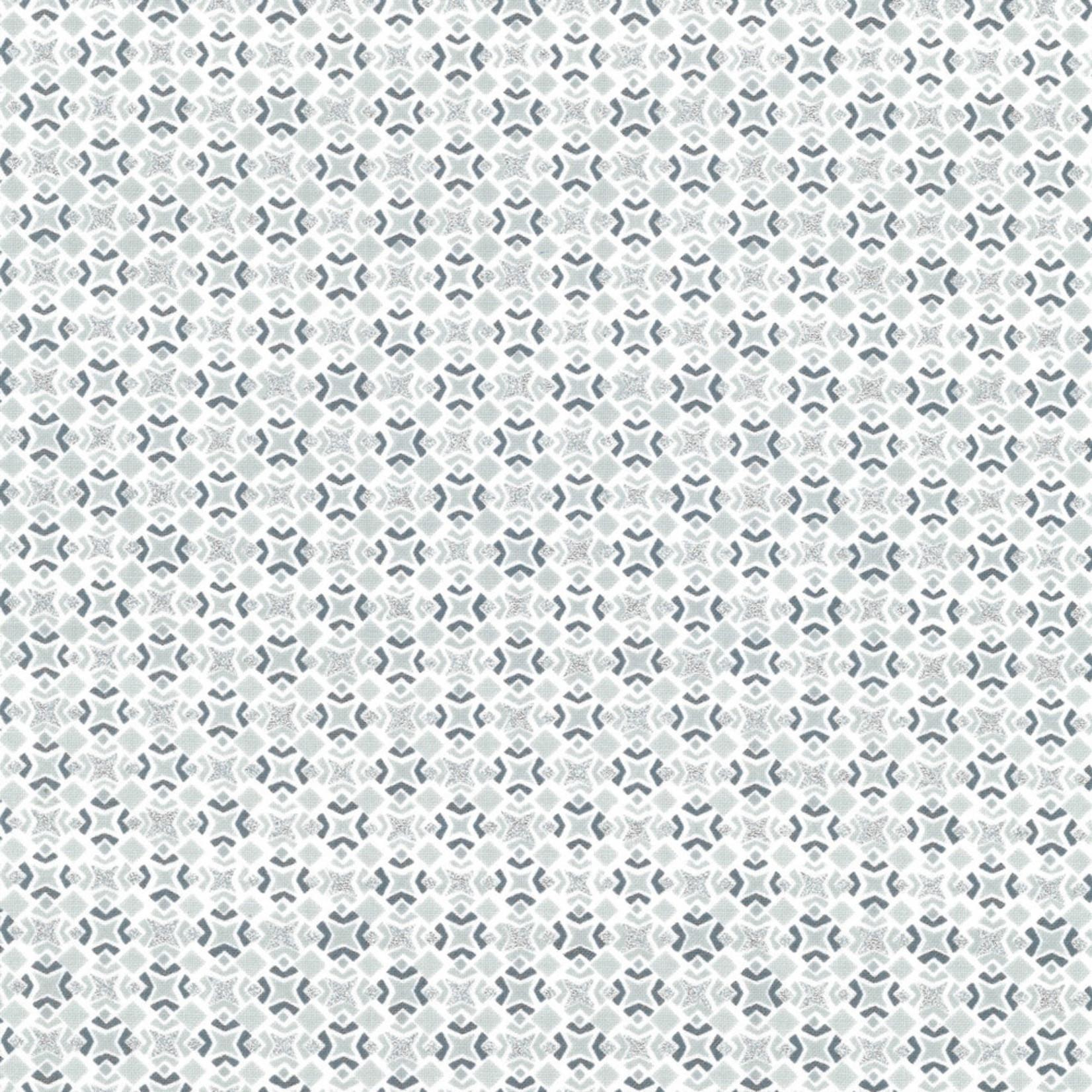 Stoffabrics Christmas Wonders - Tiles - White Silver
