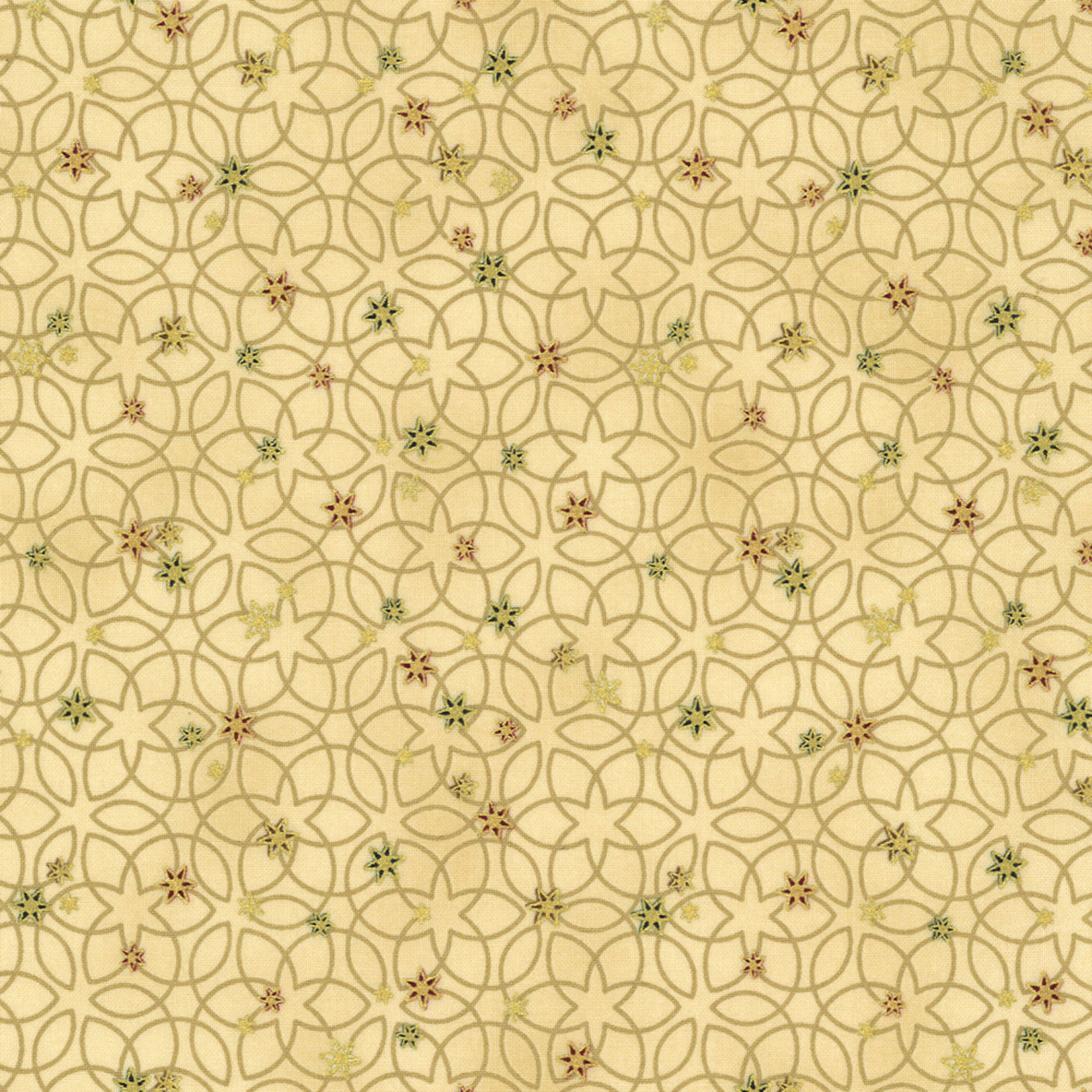 Stof Fabrics Christmas Wonders - Stars & Loops - Beige Gold