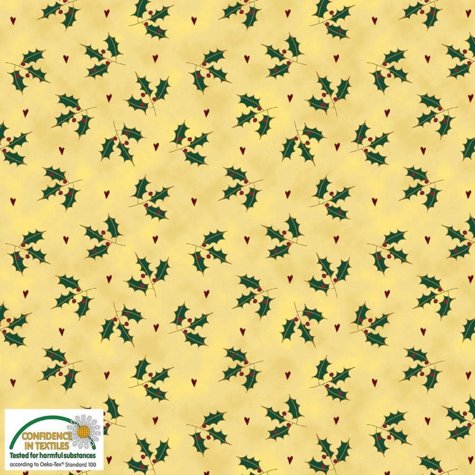 Stof Fabrics Magic Christmas - Holly - Beige