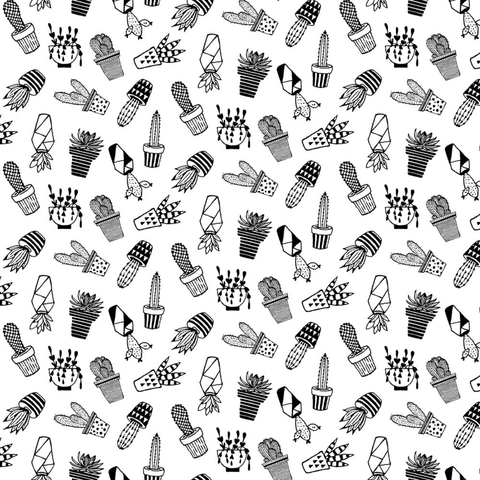 Stoffabrics Domino Effect - Cactussen - Wit