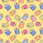 Stof Fabrics Handmade With Love - Klosjes - Geel