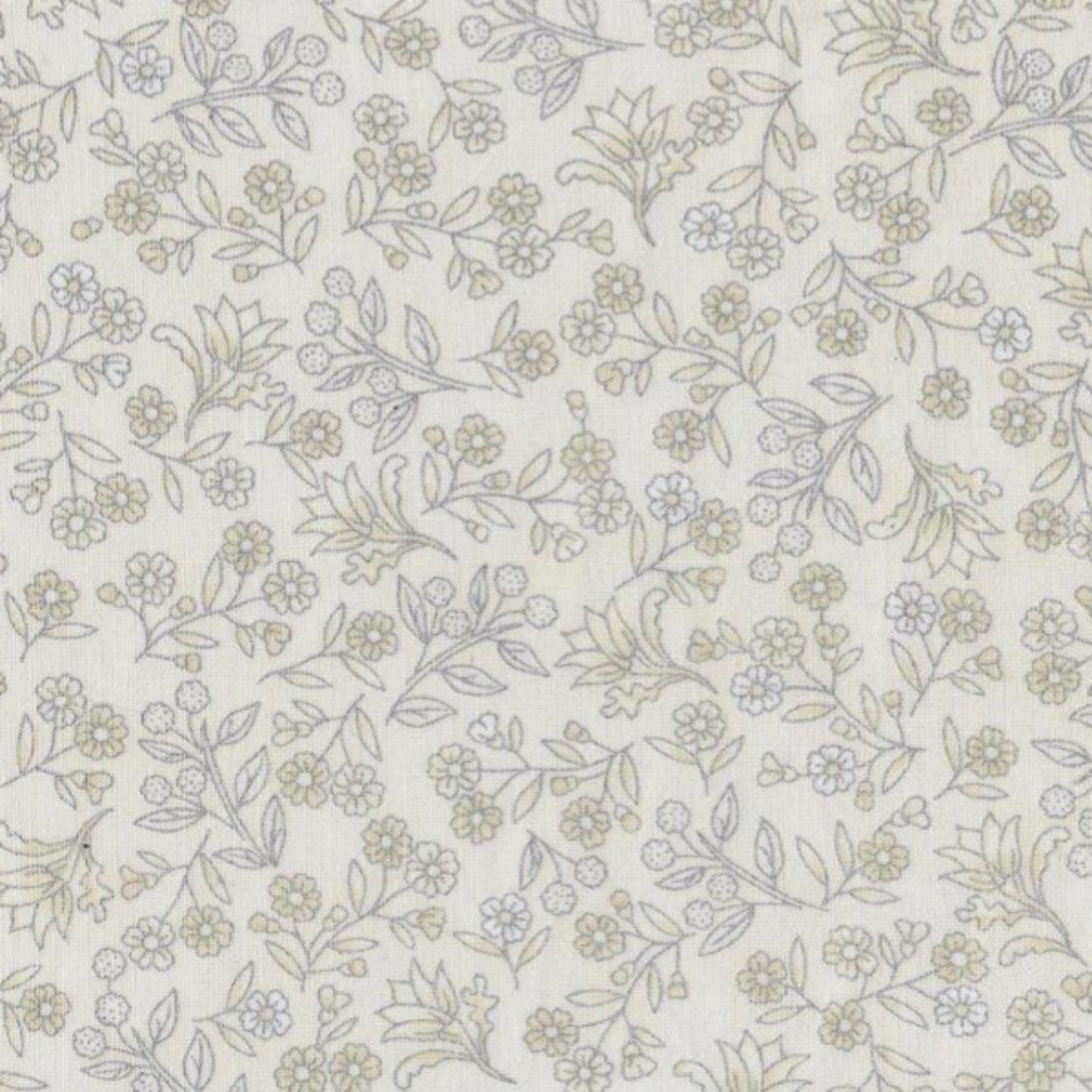 The Textile Pantry Melba - Small Floral - Ivory/Silver