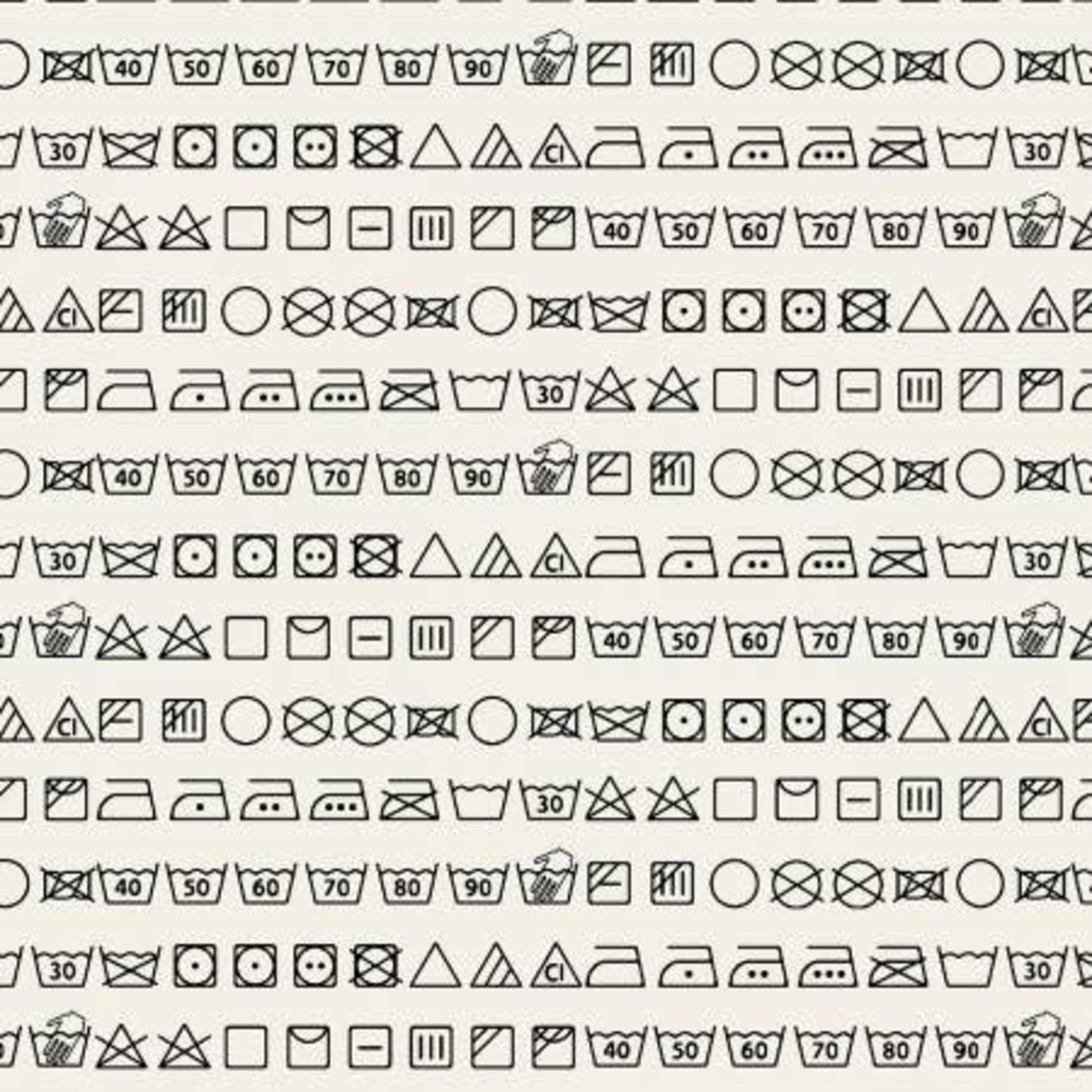 StudioE Fabrics Loads of Fun - Care Symbols - Black