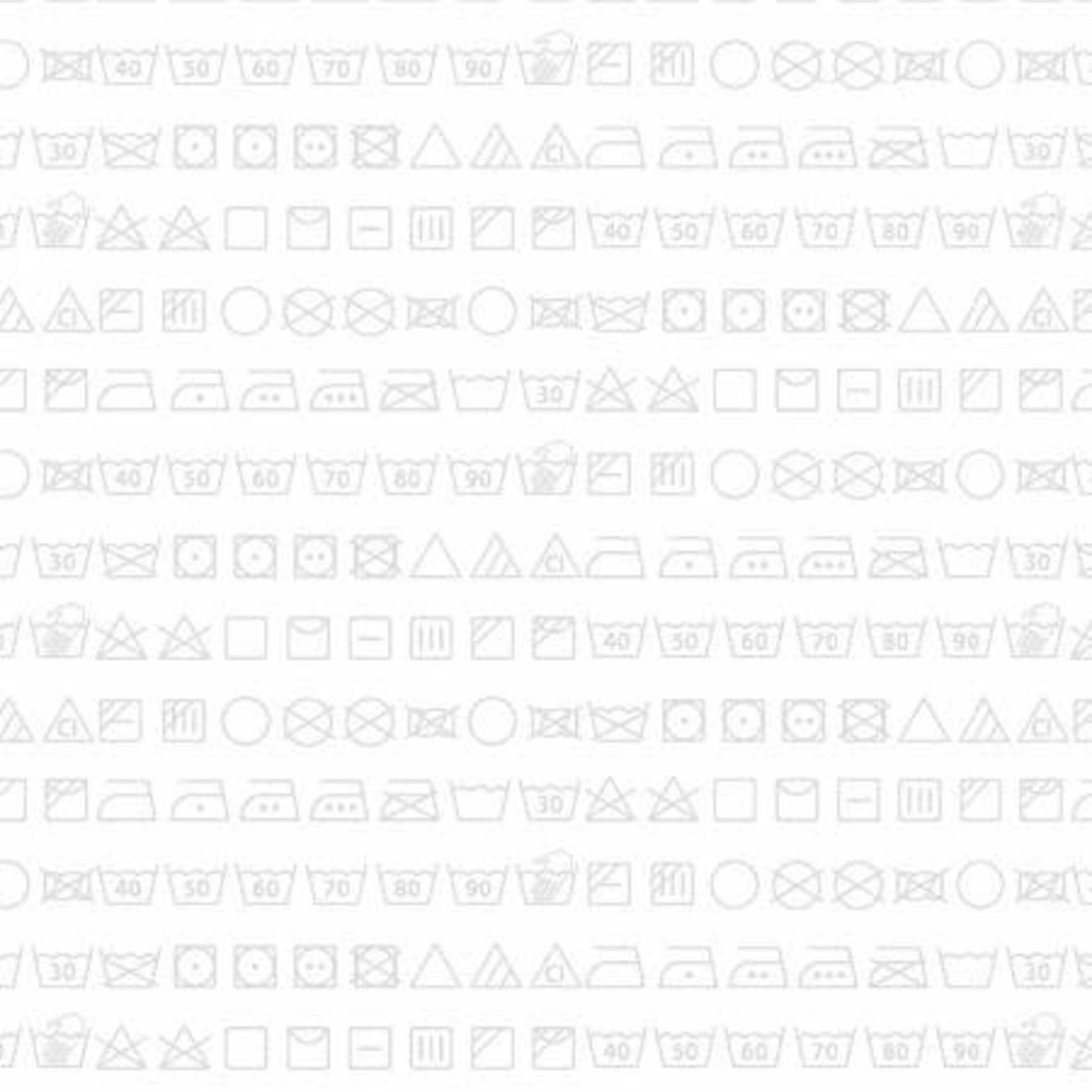 StudioE Fabrics Loads of Fun - Care Symbols - White