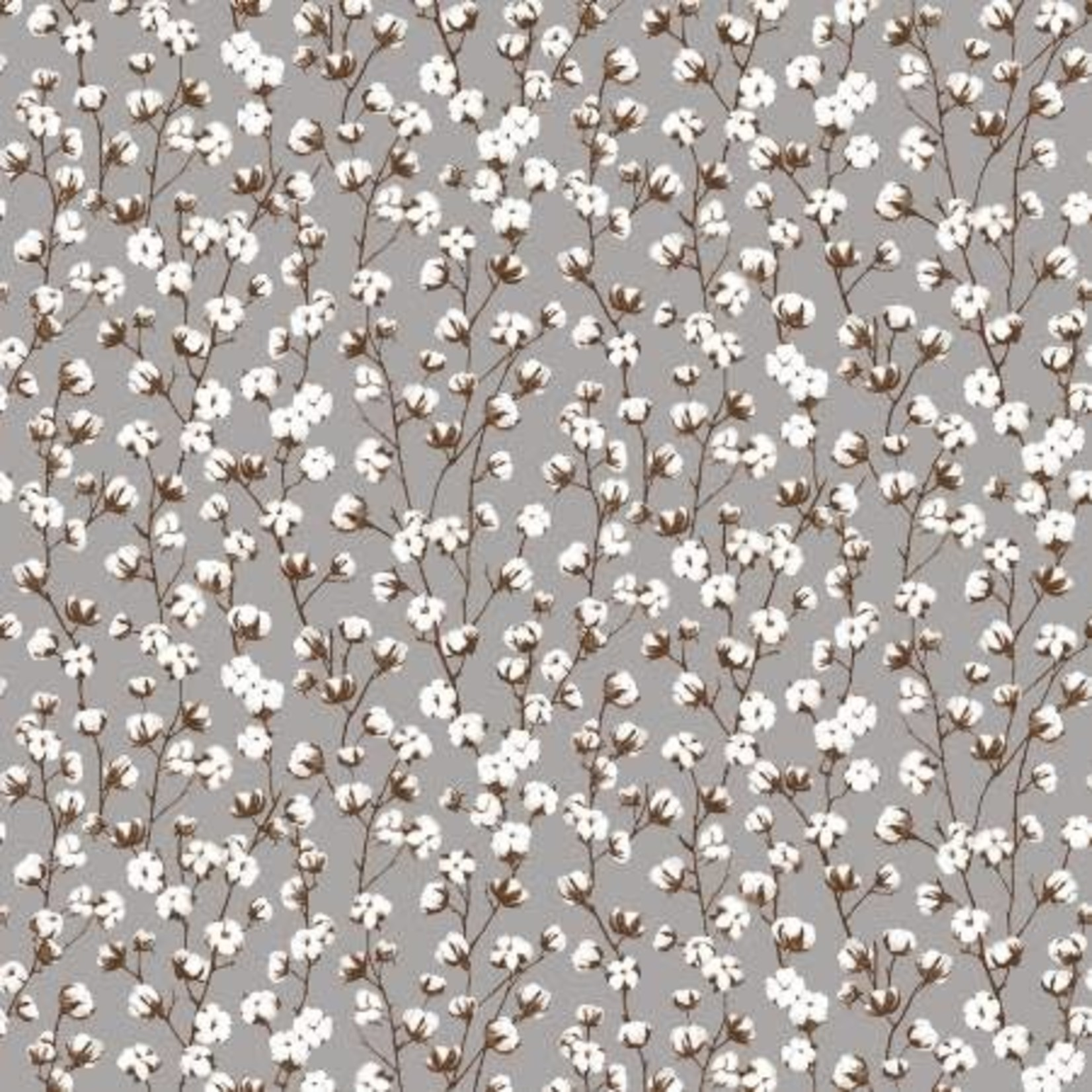 Studio E Fabrics Loads of Fun - Cotton Plants - Grey