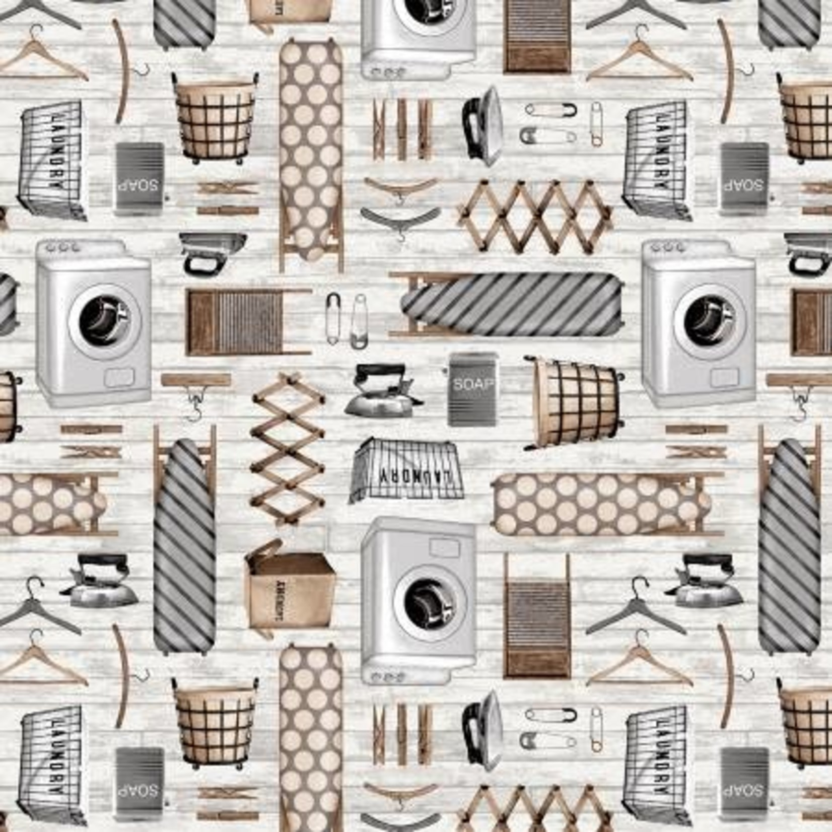 Studio E Fabrics Loads of Fun - Laundry Icon - Grey