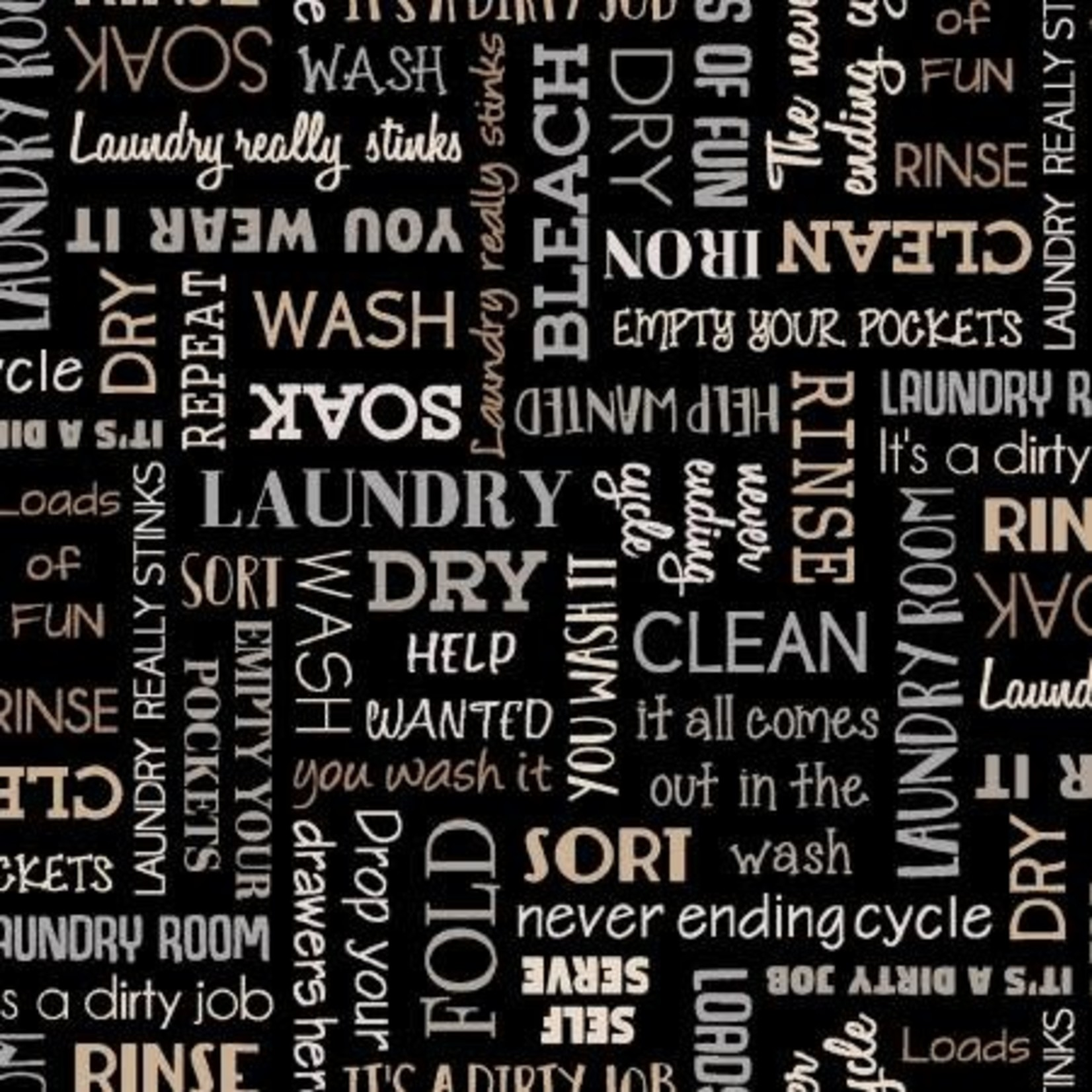 Studio E Fabrics Loads of Fun - Words - Black