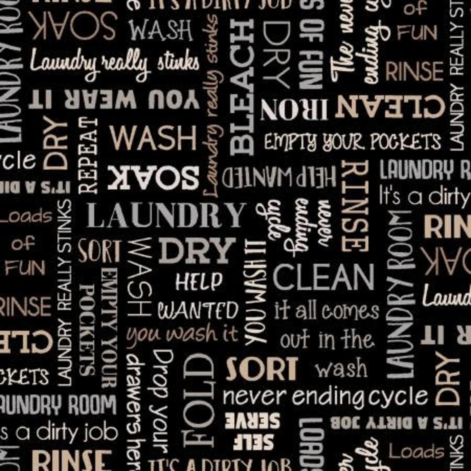 StudioE Fabrics Loads of Fun - Words - Black