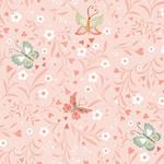 StudioE Fabrics Woodland Tea Time - Floral With Butterflies - Pink