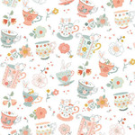 Studio E Fabrics Woodland Tea Time - Tossed Tea Cups - White