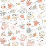 StudioE Fabrics Woodland Tea Time - Tossed Tea Cups - White