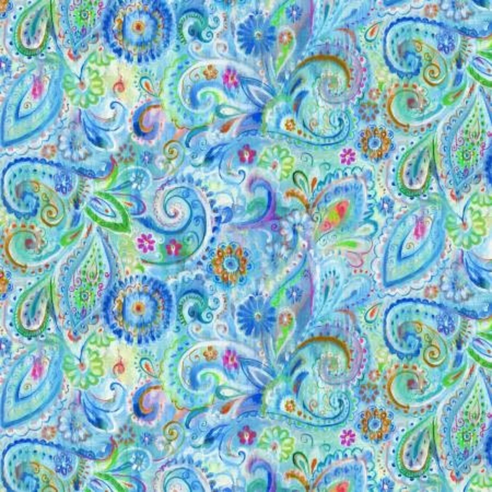 Wilmington Prints Bohemian Dreams - Dream Paisley - Blue