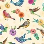 Wilmington Prints Floral Flight - Birds Allover - Cream