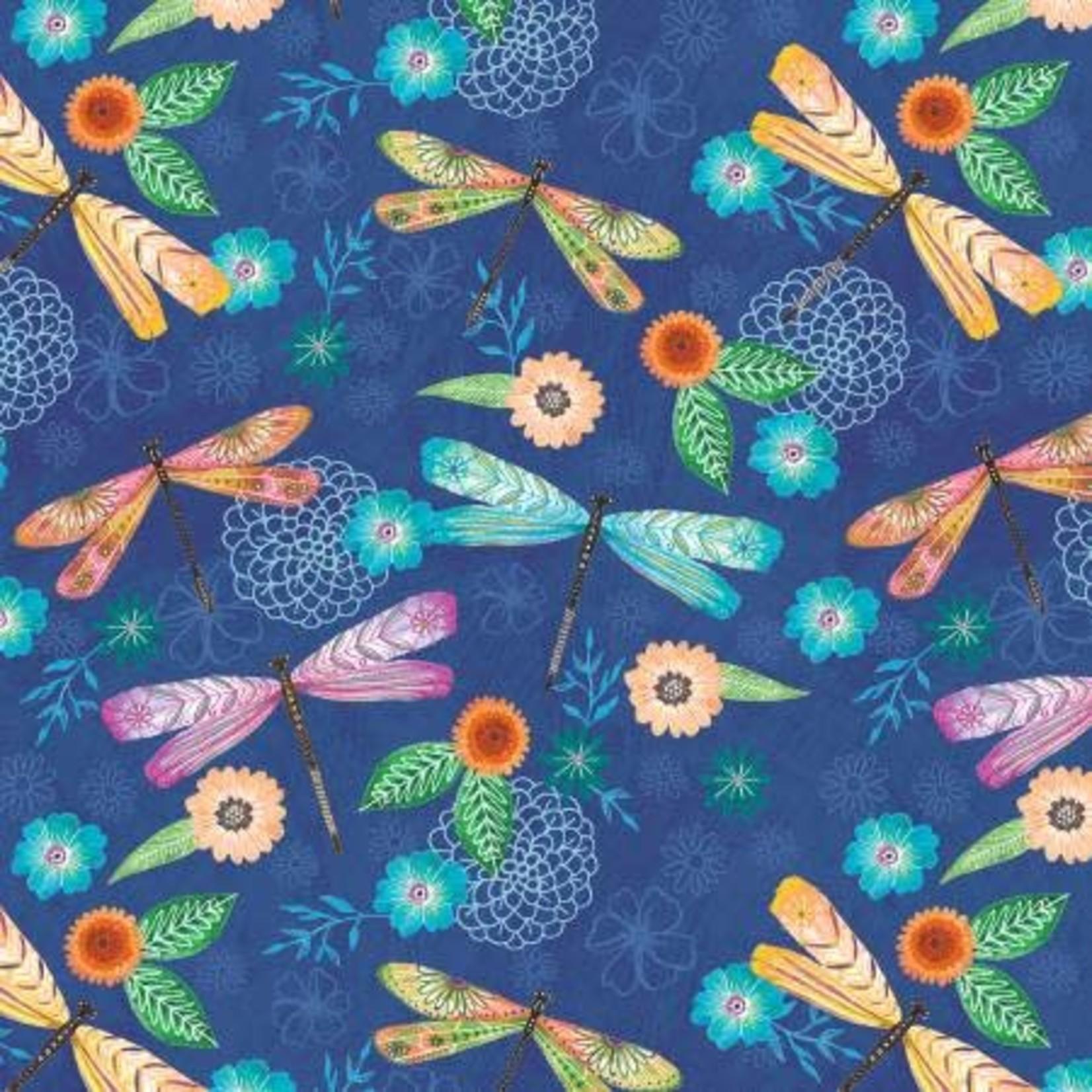 Wilmington Prints Floral Flight - Dragonfly Allover - Blue