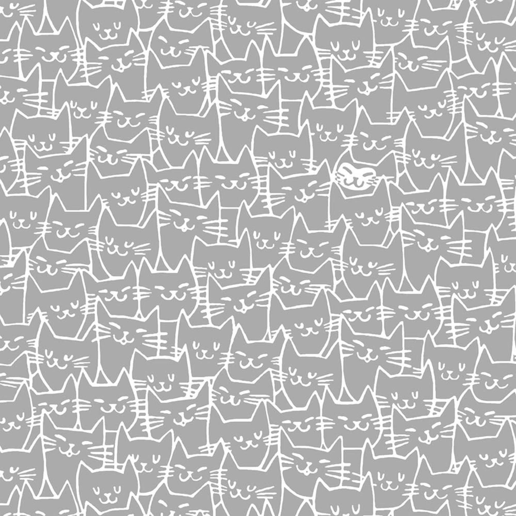 Windham Fabrics Cat Happy - Cats - Grey