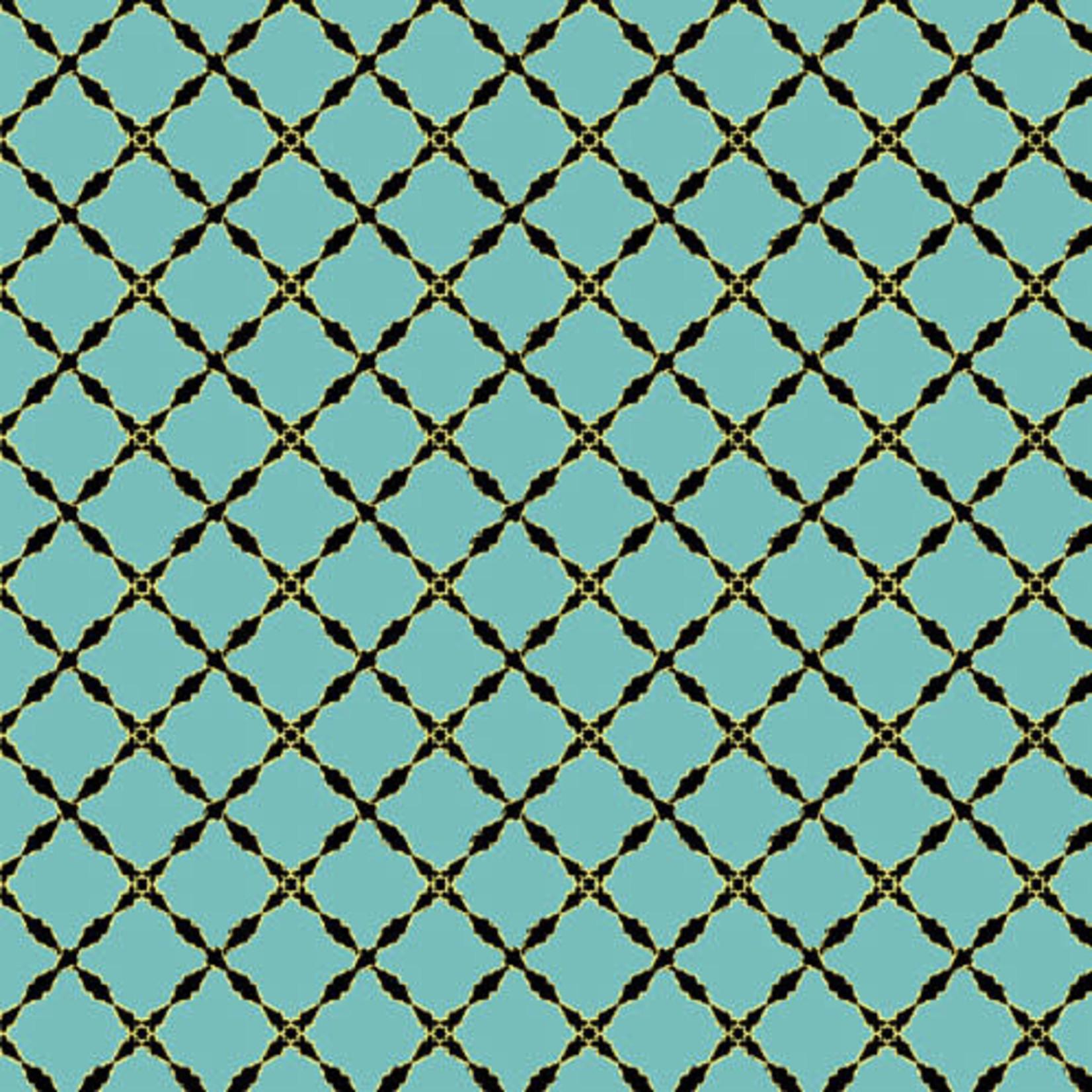 Windham Fabrics Grand Illusion - Lattice - Turquoise