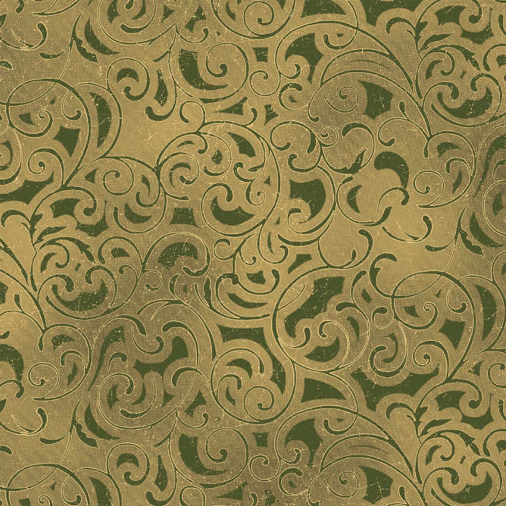 Windham Fabrics Grand Illusion - Scroll - Green