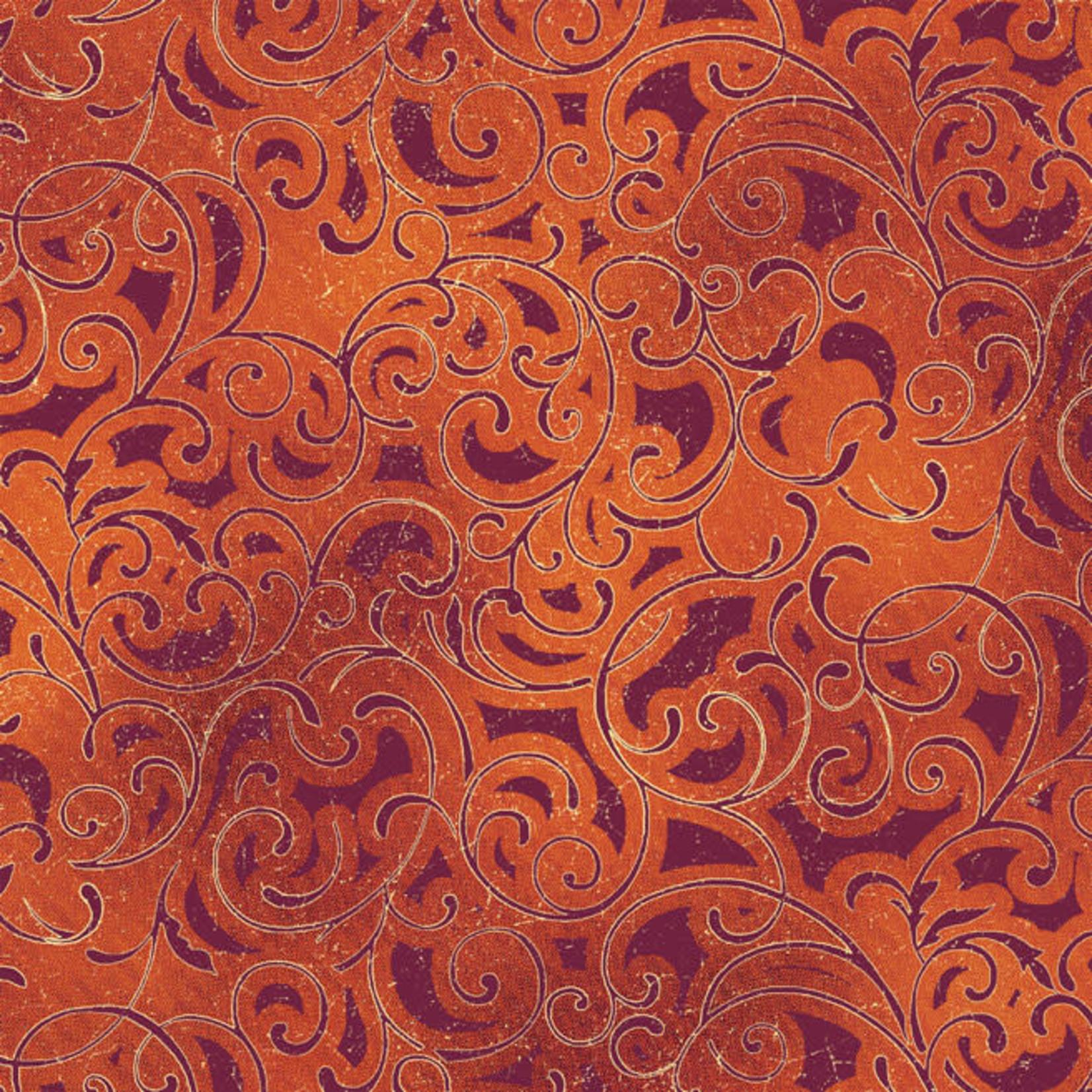 Windham Fabrics Grand Illusion - Scroll - Red