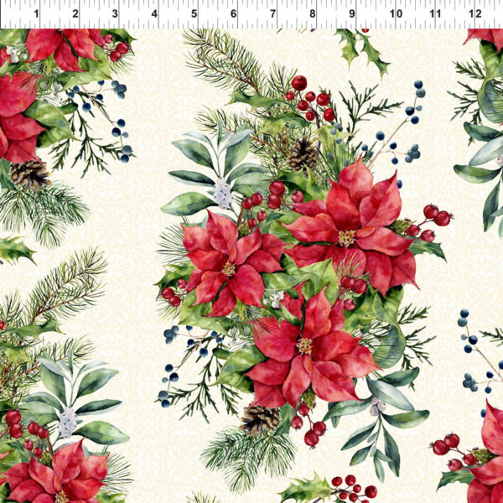 In the Beginning Fabrics A Poinsettia Winter - Bouquet on Cream