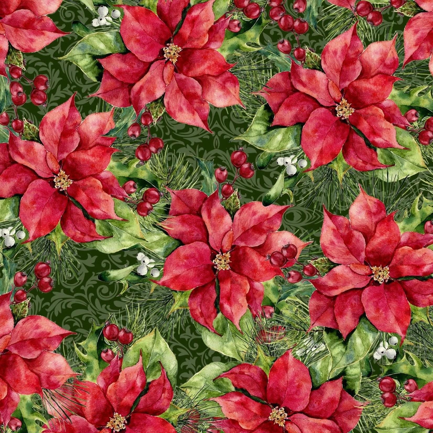 In the Beginning Fabrics A Poinsettia Winter - Poinsettia Bush