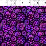 In the Beginning Fabrics Unusual Garden II - Blooms - Purple/Black