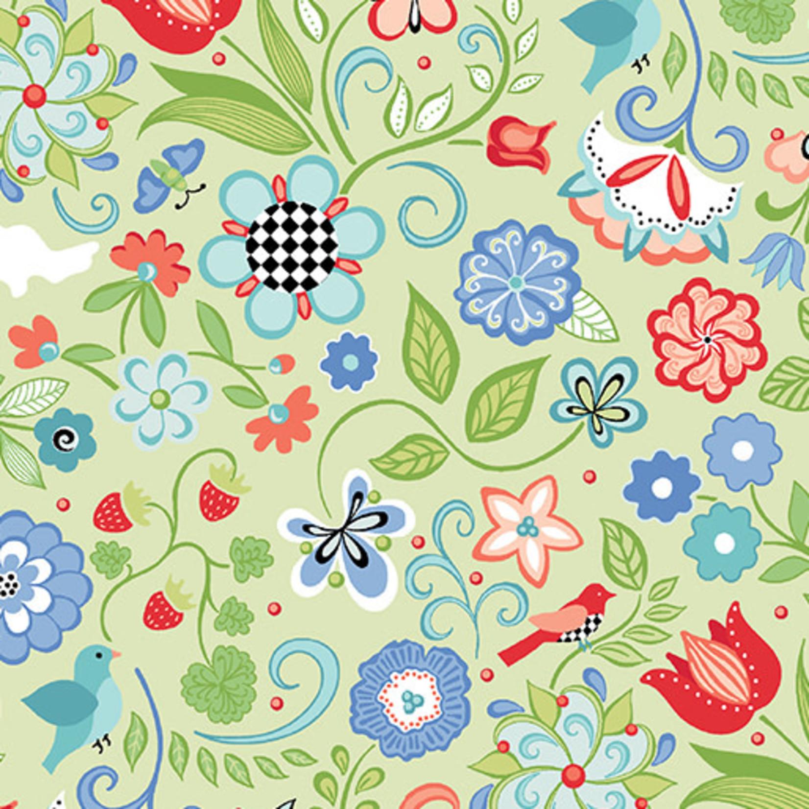 Contempo Studio Folk Art Fantasy - Floral - Light Green