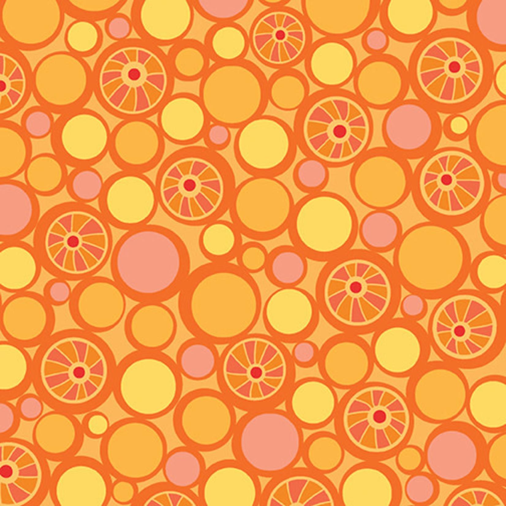 Contempo Studio Free Motion Fantasy - Pebbles - Hot Orange