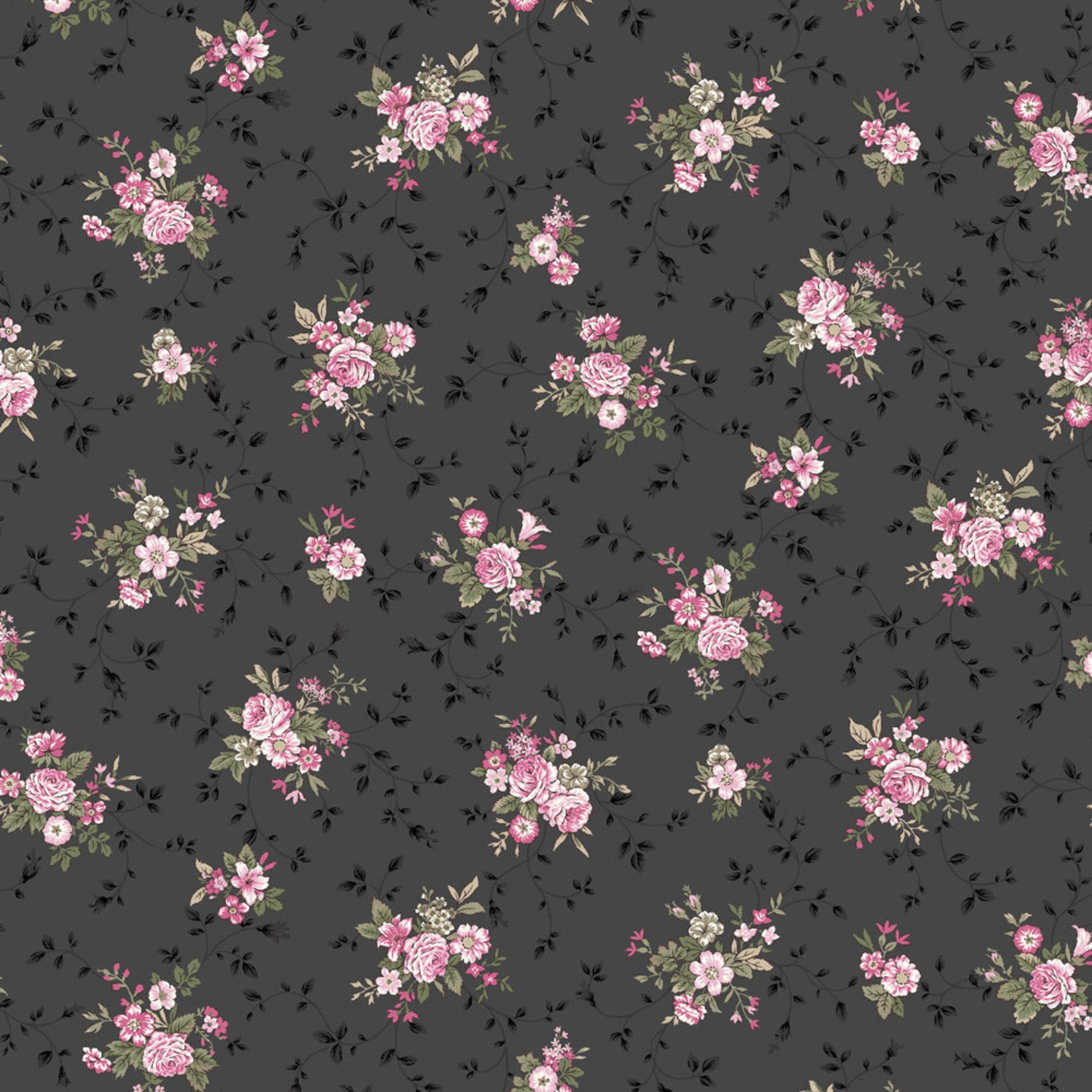 Stoffabrics Juliet Roses - Bouquets - Dark Grey