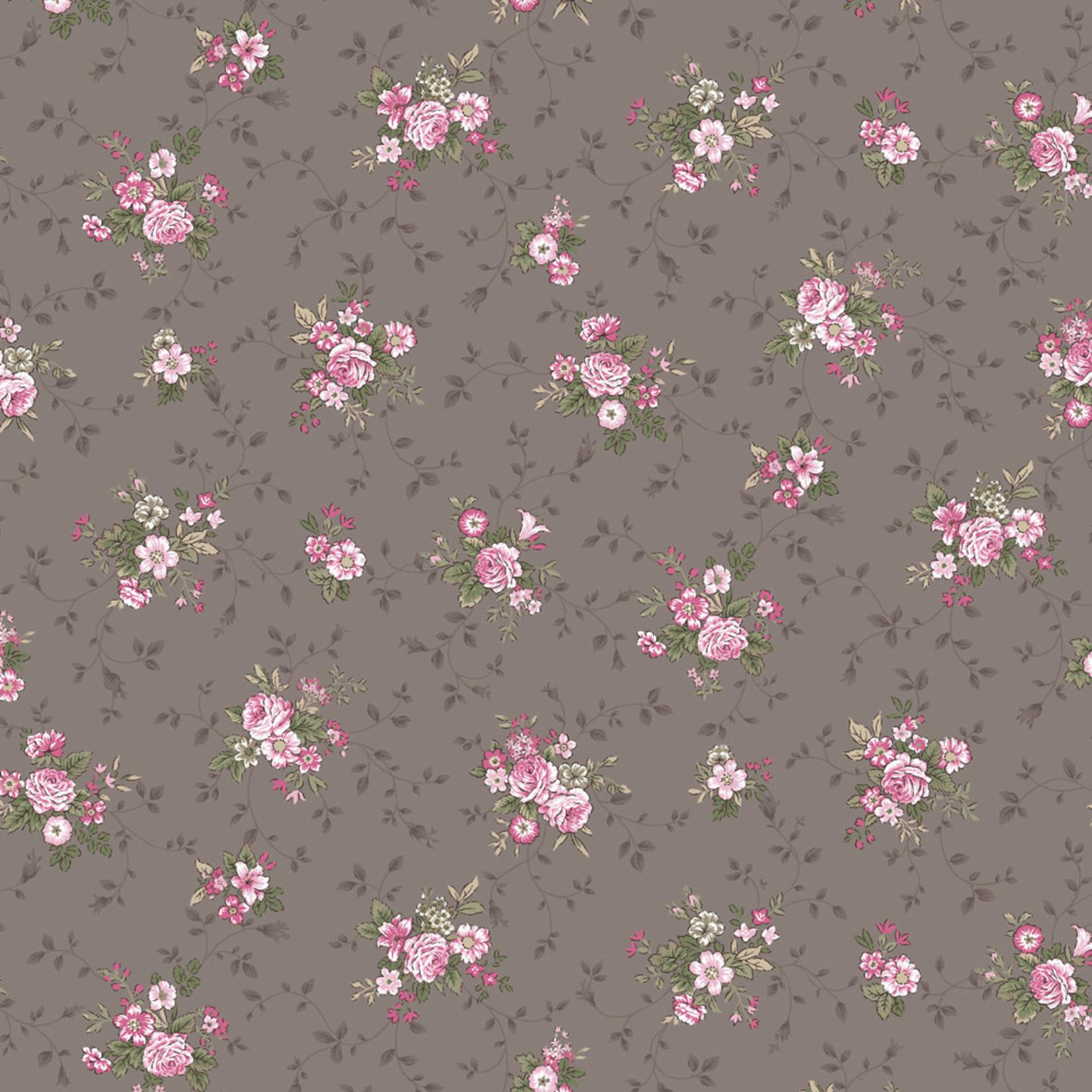 Stof Fabrics Juliet Roses - Bouquets - Grey
