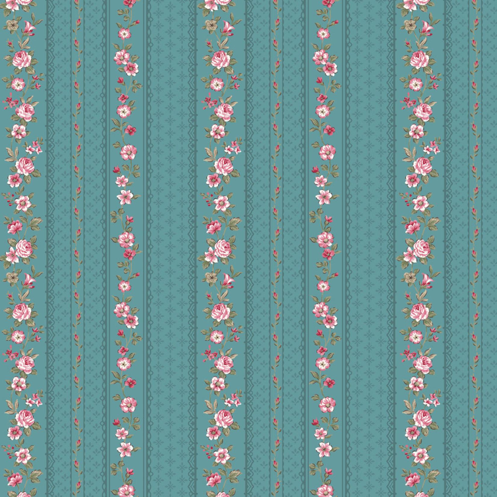 Stof Fabrics Juliet Roses - Strips - Blue