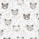 Stoffabrics Wolly Bear - Baby Bear - White
