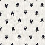 Stoffabrics Wolly Bear - Paw Prints - White