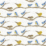 Henry Glass Fabrics Hydrangea Birdsong - Birds on a Branch - White