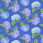 Henry Glass Fabrics Hydrangea Birdsong - Tossed Hydrangeas - Blue