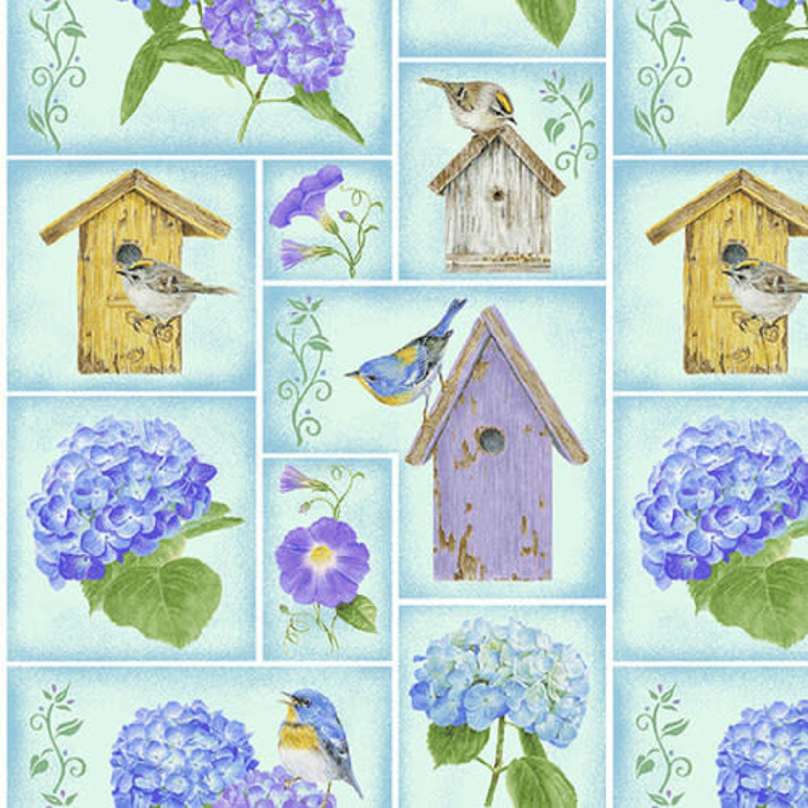 Henry Glass Fabrics Hydrangea Birdsong - Small Blocks - Blue