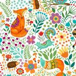 Henry Glass Fabrics Spring Awakens - Op Wit - Dieren
