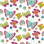 Henry Glass Fabrics Spring Awakens - Op Wit - Vlinders