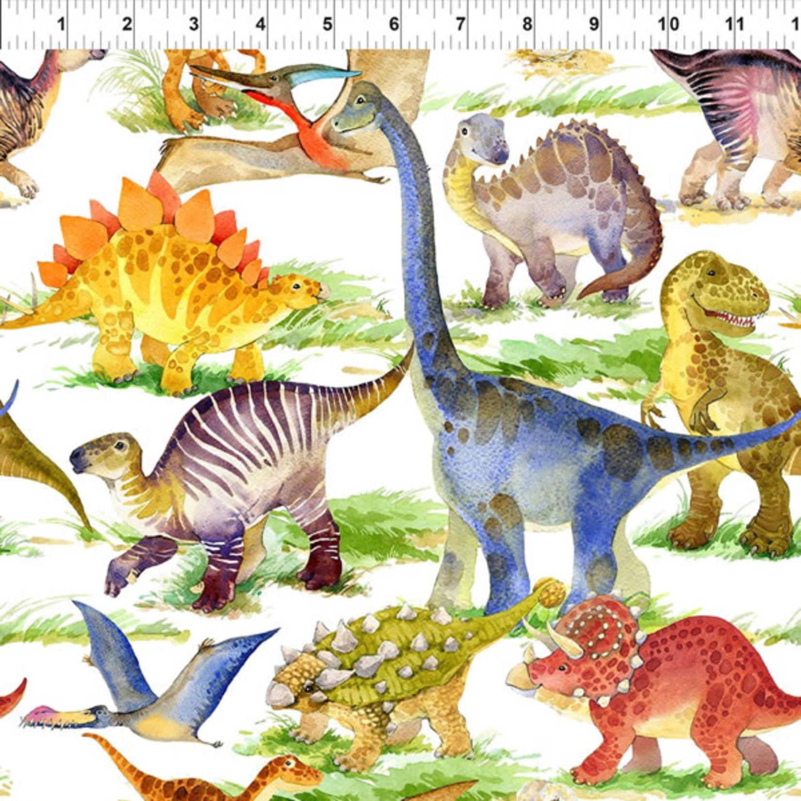 In the Beginning Fabrics Dinosaur Friends - Dino Allover - Multi