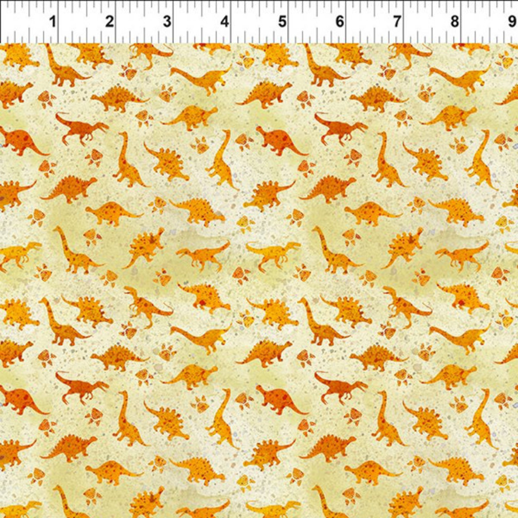 In the Beginning Fabrics Dinosaur Friends - Mini Dino - Orange